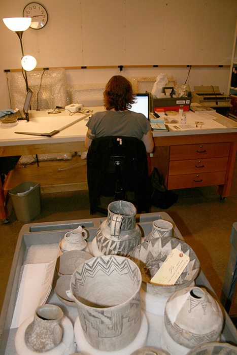 MIAC Pots awaiting examination by a conservator.