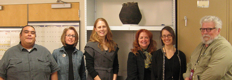 Museums of New Mexico Conservation Unit, left to right: Larry Humetewa, Landis Smith, Crista Pack (Intern), Maureen Russell, Mina Thompson and Director, Mark MacKenzie.