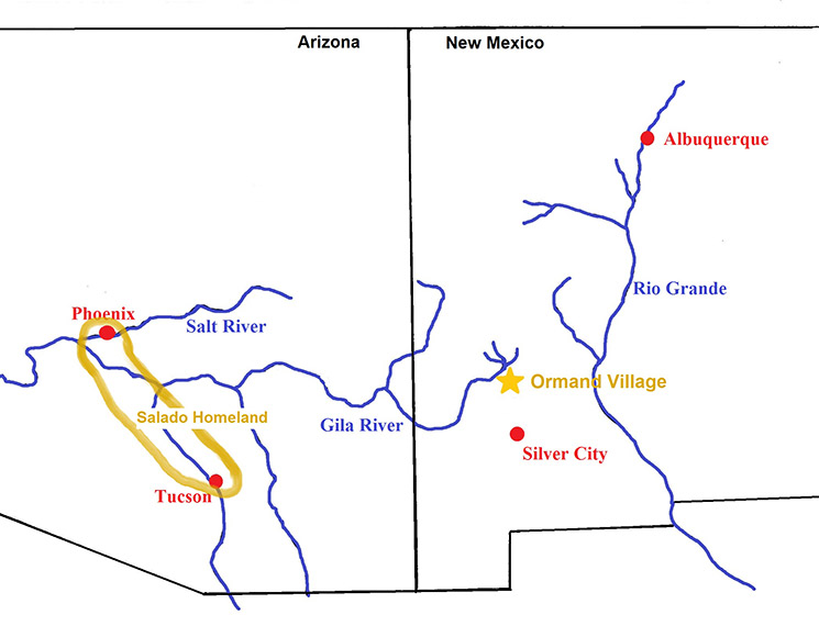 Regional map showing Tucson Basin and Ormand Village Site